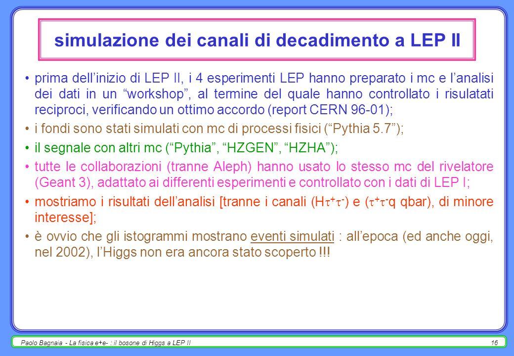 Paolo Bagnaia - La fisica e+e- : il bosone di Higgs a LEP II16 simulazione dei canali di decadimento a LEP II prima dellinizio di LEP II, i 4 esperimenti LEP hanno preparato i mc e lanalisi dei dati in un workshop, al termine del quale hanno controllato i risulatati reciproci, verificando un ottimo accordo (report CERN 96-01); i fondi sono stati simulati con mc di processi fisici (Pythia 5.7); il segnale con altri mc (Pythia, HZGEN, HZHA); tutte le collaborazioni (tranne Aleph) hanno usato lo stesso mc del rivelatore (Geant 3), adattato ai differenti esperimenti e controllato con i dati di LEP I; mostriamo i risultati dellanalisi [tranne i canali (H + - ) e ( + - q qbar), di minore interesse]; è ovvio che gli istogrammi mostrano eventi simulati : allepoca (ed anche oggi, nel 2002), lHiggs non era ancora stato scoperto !!!