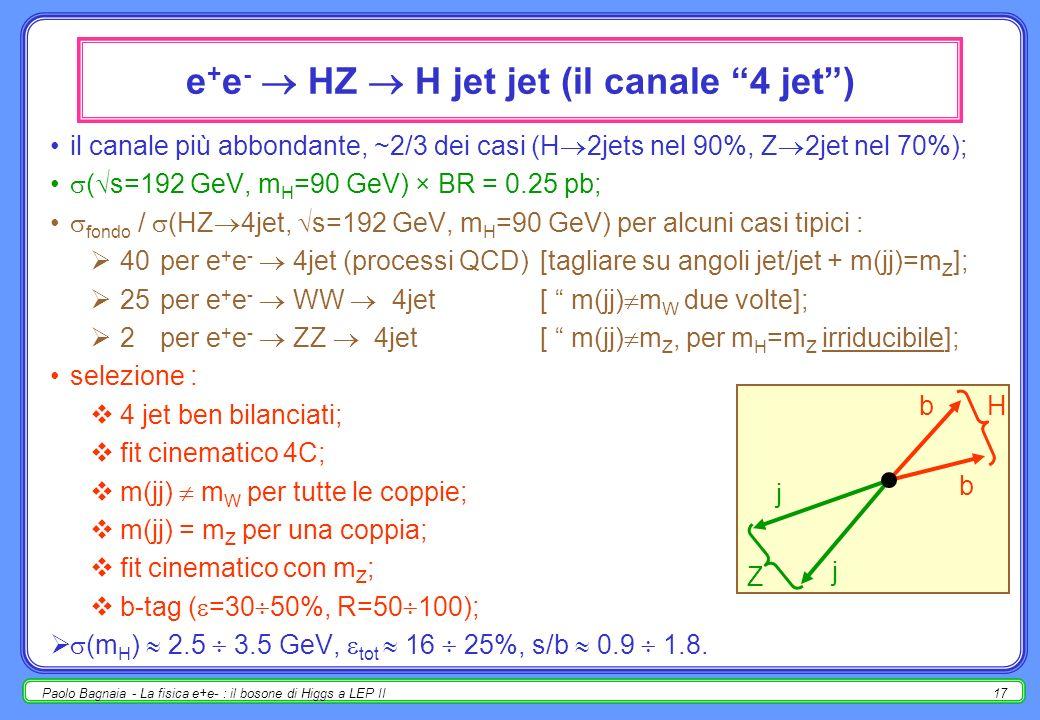 Paolo Bagnaia - La fisica e+e- : il bosone di Higgs a LEP II17 il canale più abbondante, ~2/3 dei casi (H 2jets nel 90%, Z 2jet nel 70%); ( s=192 GeV, m H =90 GeV) × BR = 0.25 pb; fondo / (HZ 4jet, s=192 GeV, m H =90 GeV) per alcuni casi tipici : 40per e + e - 4jet (processi QCD)[tagliare su angoli jet/jet + m(jj)=m Z ]; 25per e + e - WW 4jet [ m(jj) m W due volte]; 2per e + e - ZZ 4jet [ m(jj) m Z, per m H =m Z irriducibile]; selezione : 4 jet ben bilanciati; fit cinematico 4C; m(jj) m W per tutte le coppie; m(jj) = m Z per una coppia; fit cinematico con m Z ; b-tag ( =30 50%, R=50 100); (m H ) 2.5 3.5 GeV, tot 16 25%, s/b 0.9 1.8.