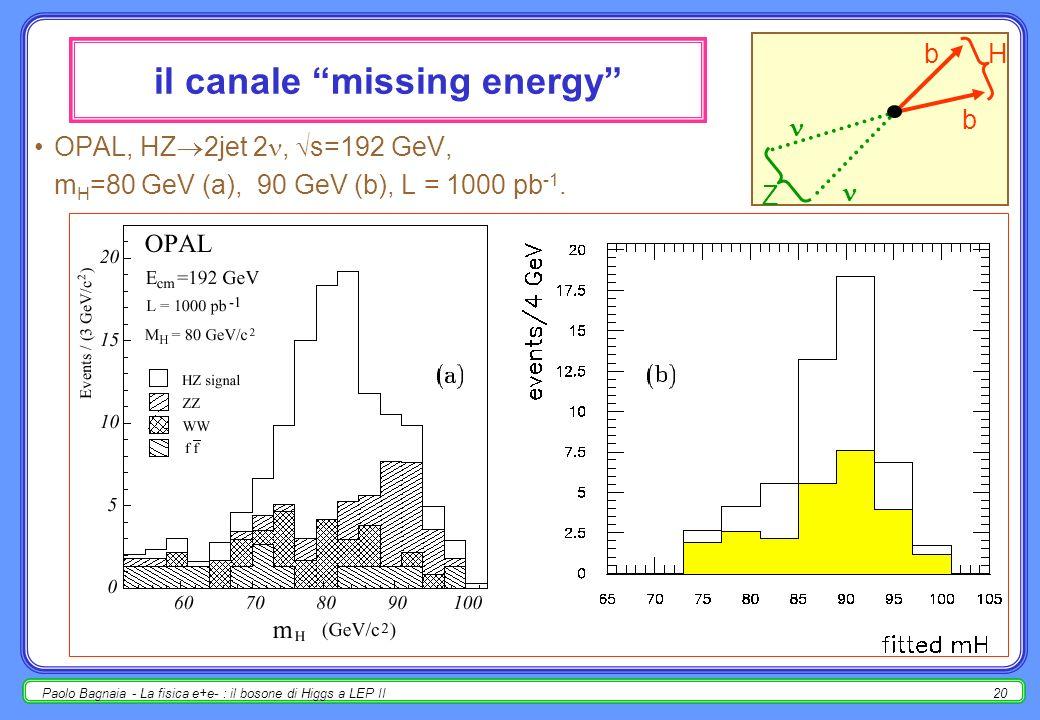 Paolo Bagnaia - La fisica e+e- : il bosone di Higgs a LEP II20 il canale missing energy OPAL, HZ 2jet 2, s=192 GeV, m H =80 GeV (a), 90 GeV (b), L = 1000 pb -1.
