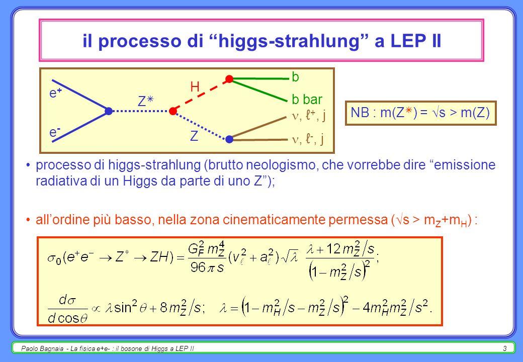 Paolo Bagnaia - La fisica e+e- : il bosone di Higgs a LEP II3 il processo di higgs-strahlung a LEP II processo di higgs-strahlung (brutto neologismo, che vorrebbe dire emissione radiativa di un Higgs da parte di uno Z); allordine più basso, nella zona cinematicamente permessa ( s > m Z +m H ) : e+e+ H e-e- Z Z b b bar, +, j, -, j NB : m(Z ) = s > m(Z)