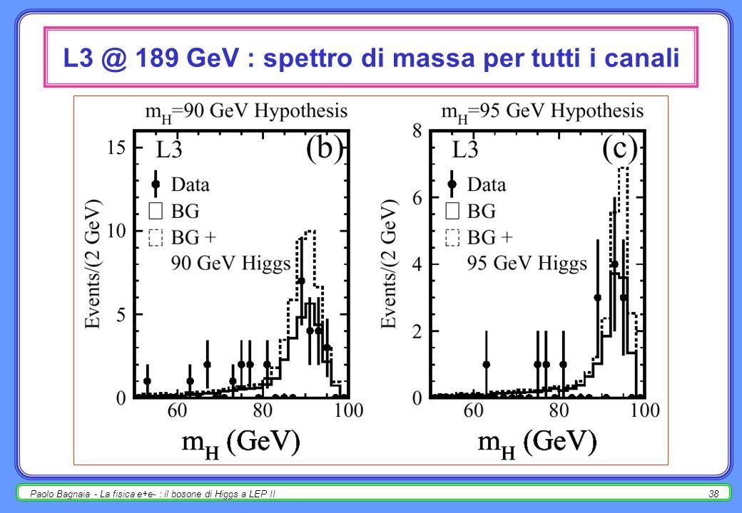 Paolo Bagnaia - La fisica e+e- : il bosone di Higgs a LEP II38 L3 @ 189 GeV : spettro di massa per tutti i canali
