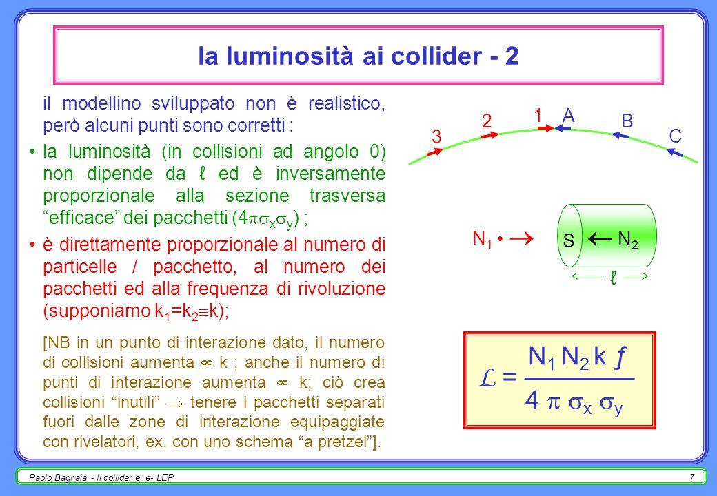 Paolo Bagnaia - Il collider e+e- LEP6 la luminosità ai collider - 1 N 1 particelle in ogni pacchetto di p.
