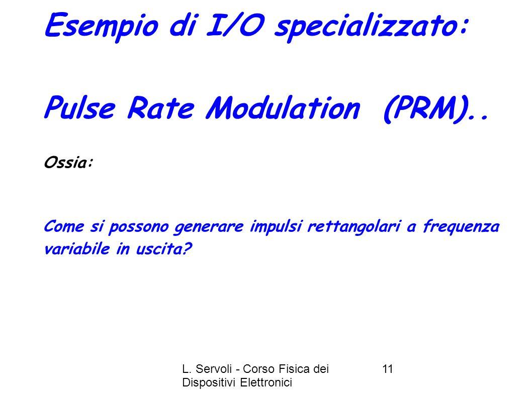 L. Servoli - Corso Fisica dei Dispositivi Elettronici 11 Esempio di I/O specializzato: Pulse Rate Modulation (PRM).. Ossia: Come si possono generare i