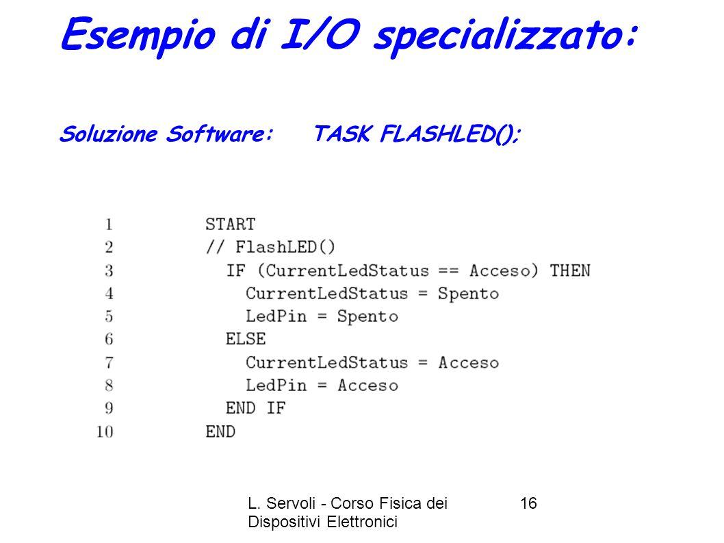 L. Servoli - Corso Fisica dei Dispositivi Elettronici 16 Esempio di I/O specializzato: Soluzione Software: TASK FLASHLED();