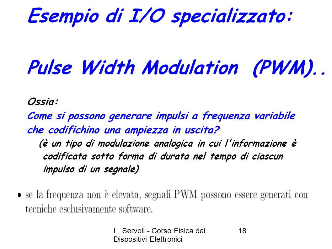 L. Servoli - Corso Fisica dei Dispositivi Elettronici 18 Esempio di I/O specializzato: Pulse Width Modulation (PWM).. Ossia: Come si possono generare