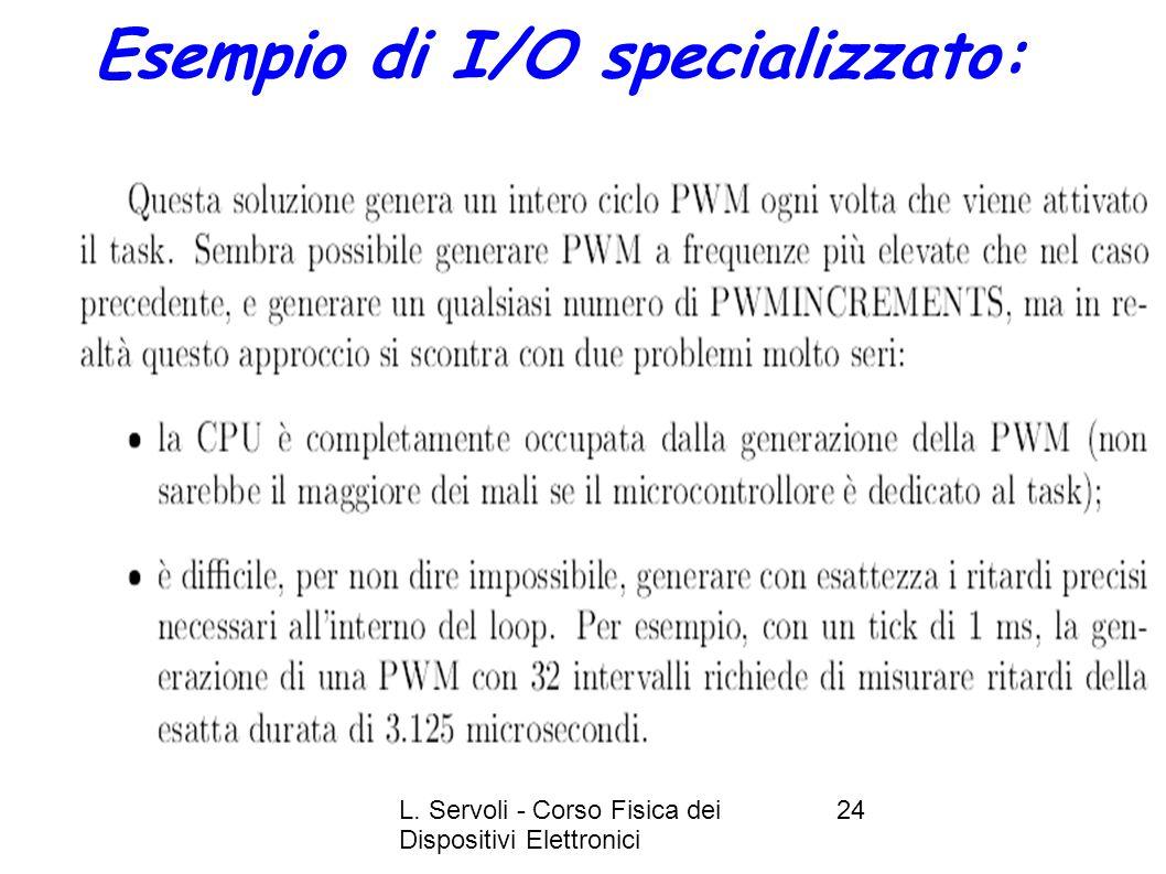 L. Servoli - Corso Fisica dei Dispositivi Elettronici 24 Esempio di I/O specializzato: