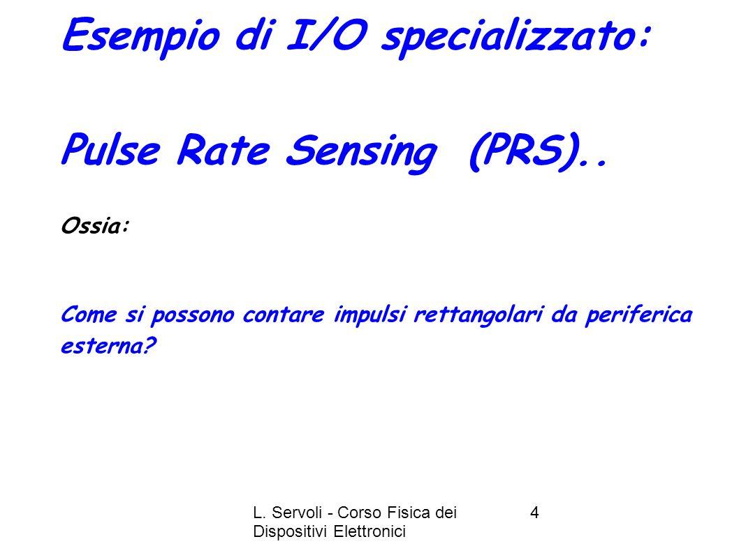 L. Servoli - Corso Fisica dei Dispositivi Elettronici 4 Esempio di I/O specializzato: Pulse Rate Sensing (PRS).. Ossia: Come si possono contare impuls