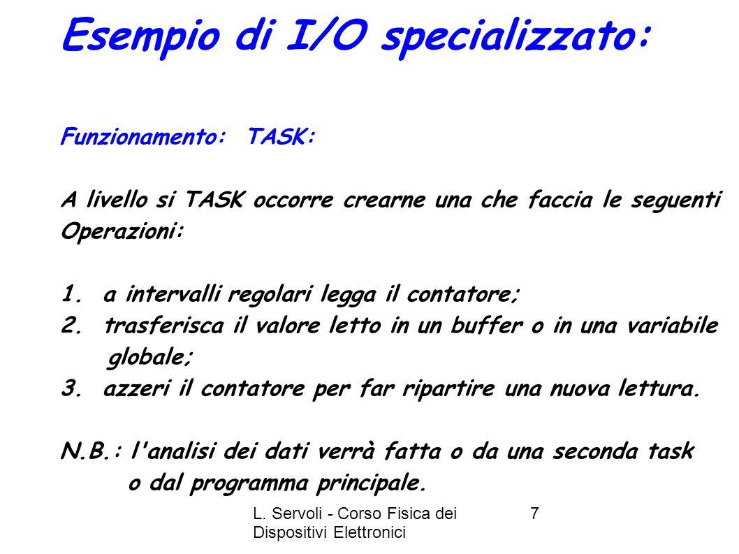 L. Servoli - Corso Fisica dei Dispositivi Elettronici 7 Esempio di I/O specializzato: Funzionamento: TASK: A livello si TASK occorre crearne una che f