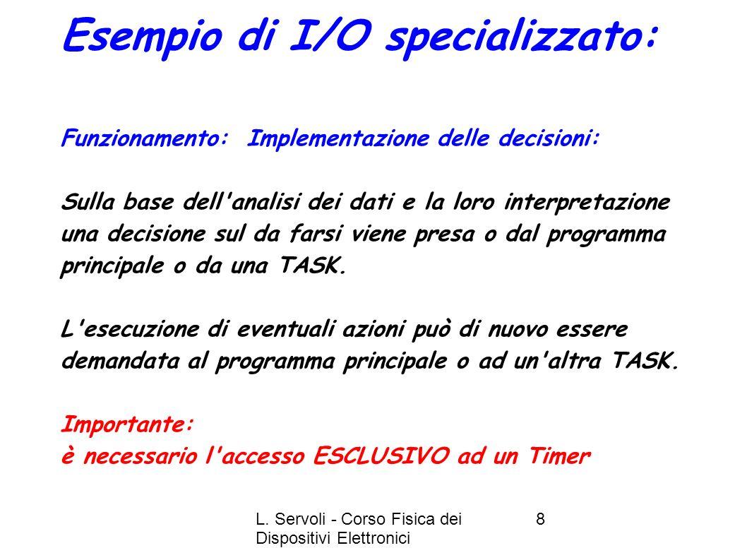L. Servoli - Corso Fisica dei Dispositivi Elettronici 8 Esempio di I/O specializzato: Funzionamento: Implementazione delle decisioni: Sulla base dell'