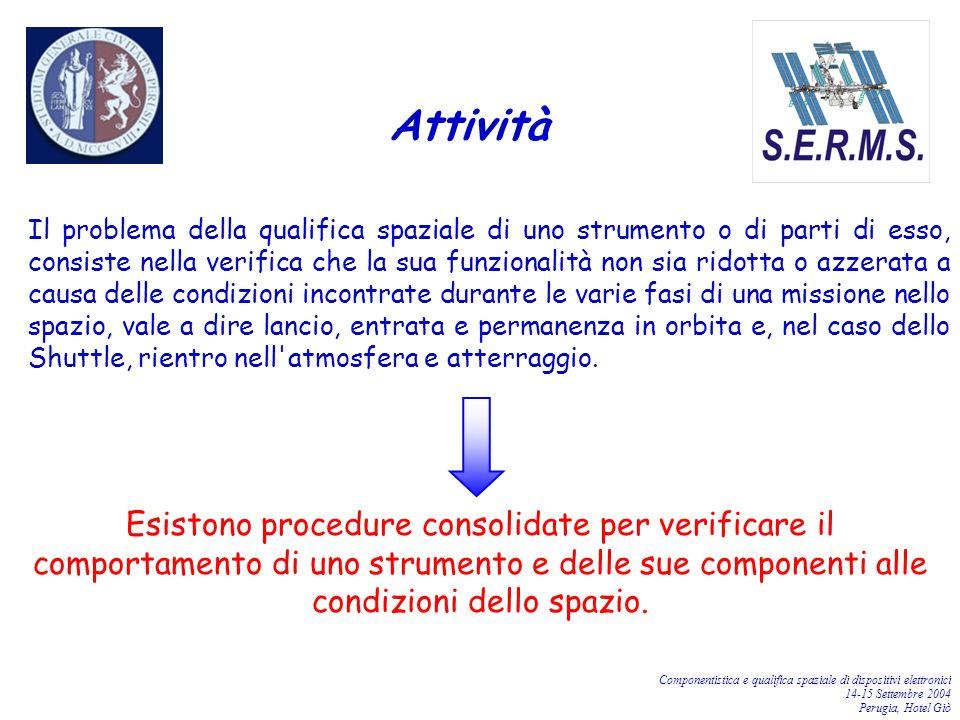 Componentistica e qualifica spaziale di dispositivi elettronici 14-15 Settembre 2004 Perugia, Hotel Giò Il problema della qualifica spaziale di uno st