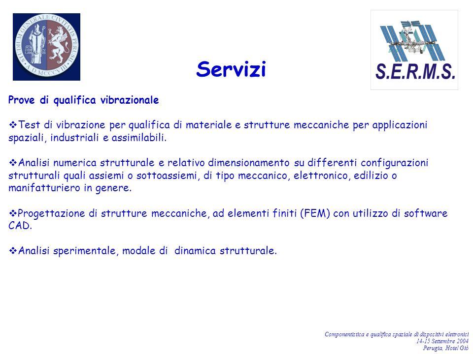 Componentistica e qualifica spaziale di dispositivi elettronici 14-15 Settembre 2004 Perugia, Hotel Giò Prove di qualifica vibrazionale Test di vibraz