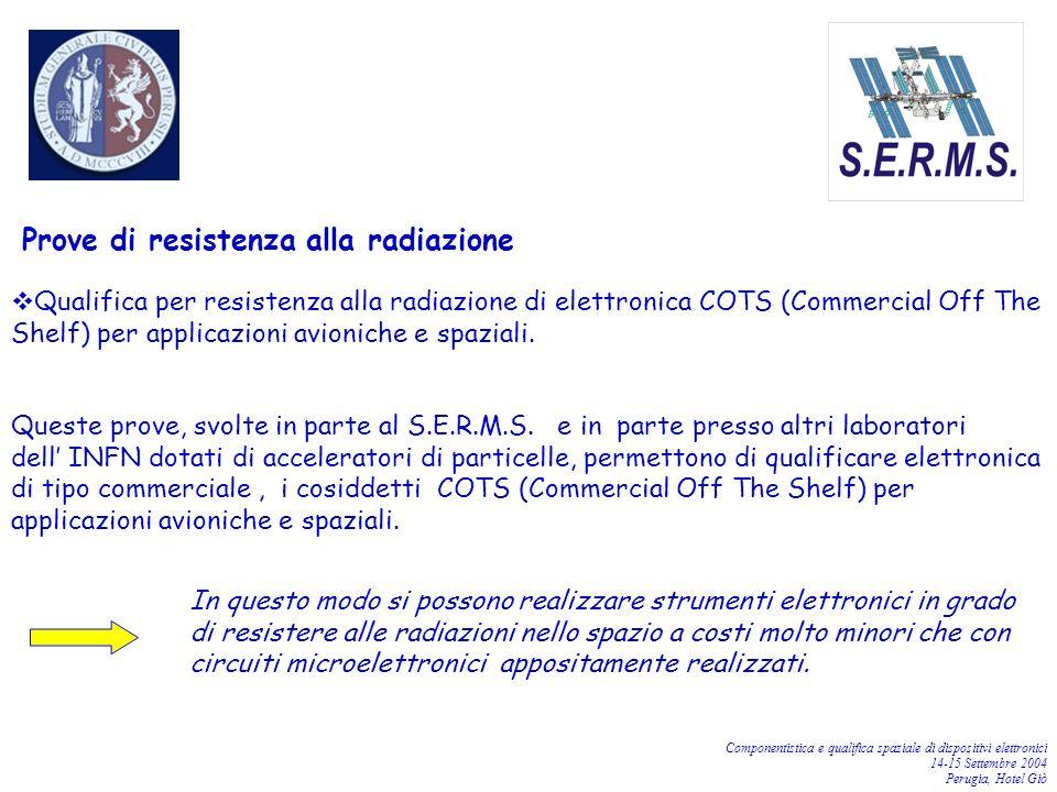 Componentistica e qualifica spaziale di dispositivi elettronici 14-15 Settembre 2004 Perugia, Hotel Giò Prove di resistenza alla radiazione Qualifica
