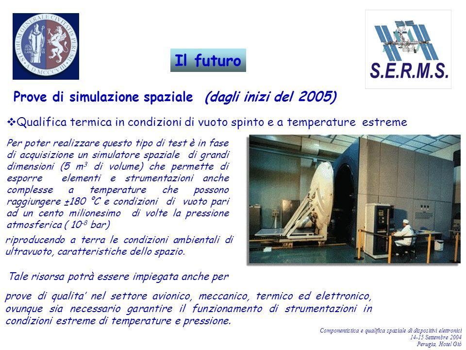 Componentistica e qualifica spaziale di dispositivi elettronici 14-15 Settembre 2004 Perugia, Hotel Giò Prove di simulazione spaziale (dagli inizi del