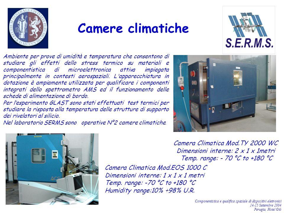 Componentistica e qualifica spaziale di dispositivi elettronici 14-15 Settembre 2004 Perugia, Hotel Giò Ambiente per prove di umidità e temperatura ch