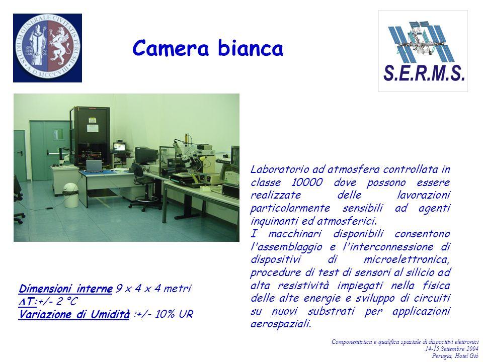 Componentistica e qualifica spaziale di dispositivi elettronici 14-15 Settembre 2004 Perugia, Hotel Giò Camera bianca Laboratorio ad atmosfera control