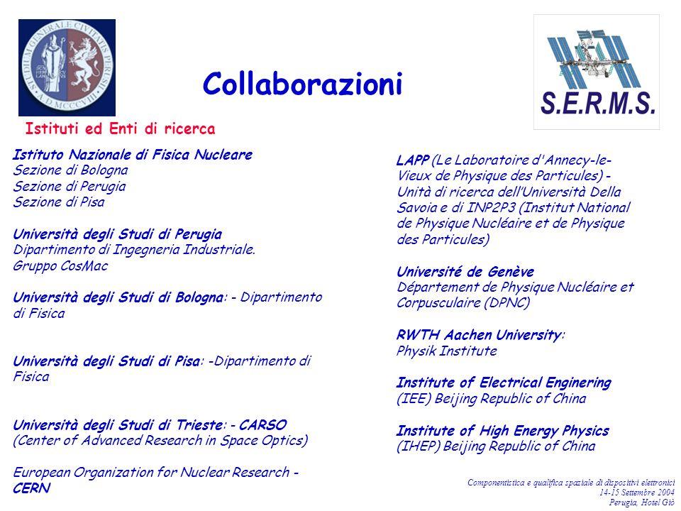 Componentistica e qualifica spaziale di dispositivi elettronici 14-15 Settembre 2004 Perugia, Hotel Giò Istituti ed Enti di ricerca Collaborazioni Ist
