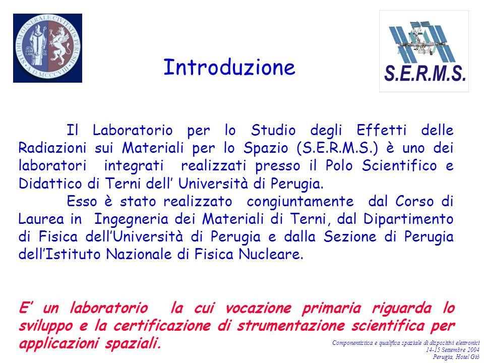 Componentistica e qualifica spaziale di dispositivi elettronici 14-15 Settembre 2004 Perugia, Hotel Giò Il Laboratorio per lo Studio degli Effetti del