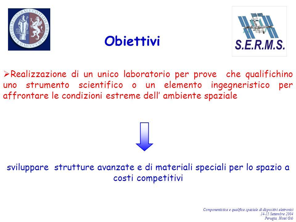 Componentistica e qualifica spaziale di dispositivi elettronici 14-15 Settembre 2004 Perugia, Hotel Giò Obiettivi Realizzazione di un unico laboratori
