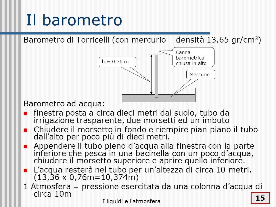 I liquidi e l'atmosfera 15 Il barometro Barometro di Torricelli (con mercurio – densità 13.65 gr/cm 3 ) Barometro ad acqua: finestra posta a circa die