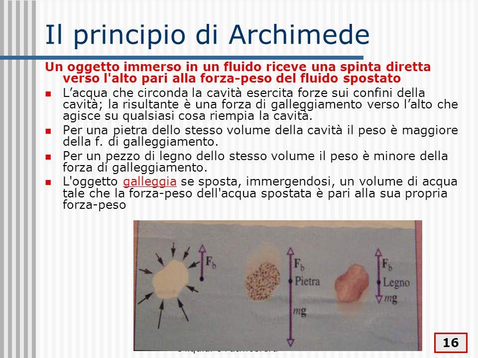 I liquidi e l'atmosfera 16 Il principio di Archimede Un oggetto immerso in un fluido riceve una spinta diretta verso l'alto pari alla forza-peso del f