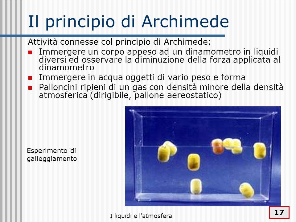 I liquidi e l'atmosfera 17 Il principio di Archimede Attività connesse col principio di Archimede: Immergere un corpo appeso ad un dinamometro in liqu