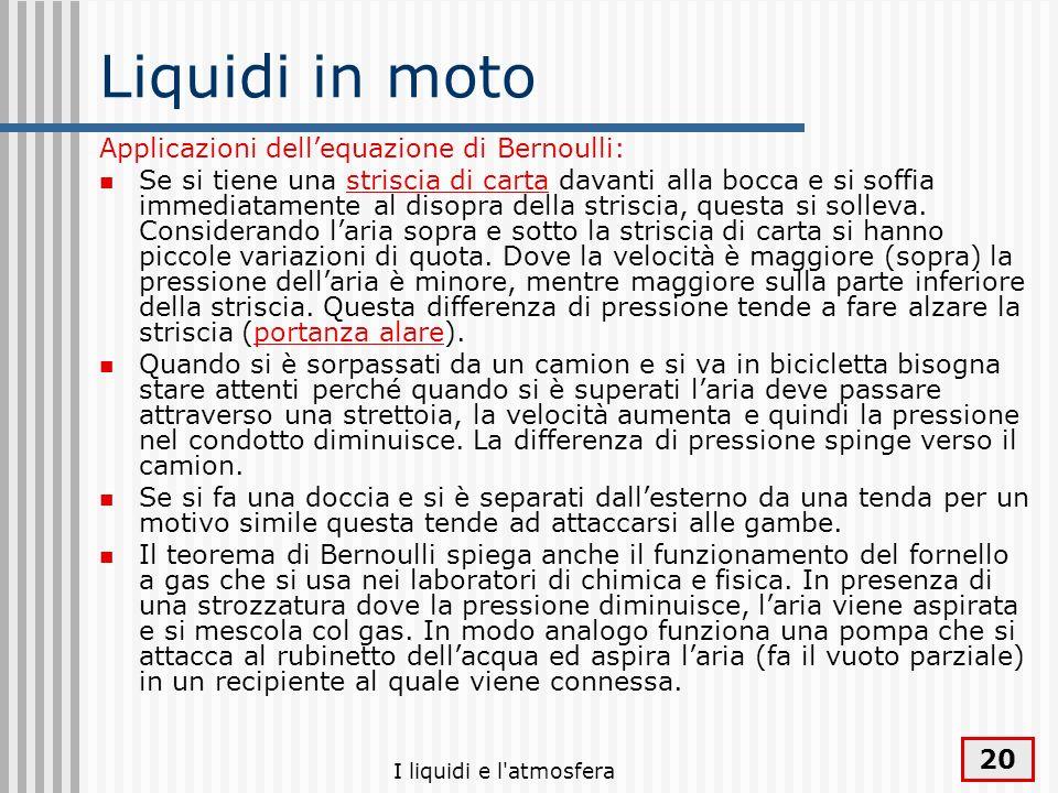 I liquidi e l'atmosfera 20 Liquidi in moto Applicazioni dellequazione di Bernoulli: Se si tiene una striscia di carta davanti alla bocca e si soffia i