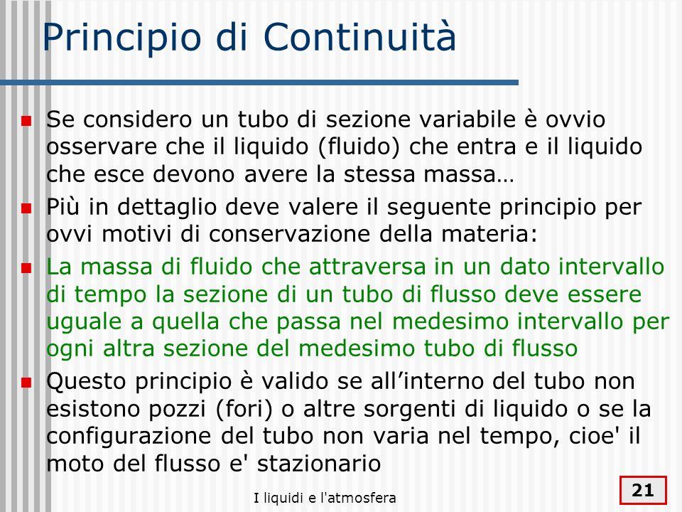 I liquidi e l'atmosfera 21 Principio di Continuità Se considero un tubo di sezione variabile è ovvio osservare che il liquido (fluido) che entra e il