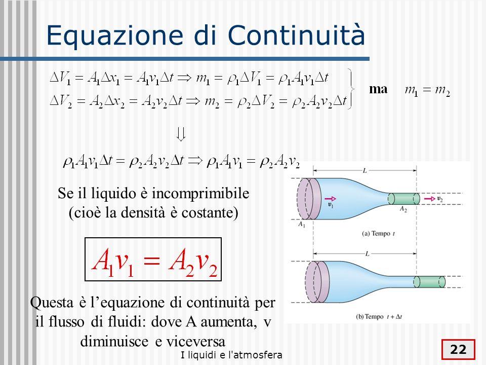 I liquidi e l'atmosfera 22 Equazione di Continuità Se il liquido è incomprimibile (cioè la densità è costante) Questa è lequazione di continuità per i