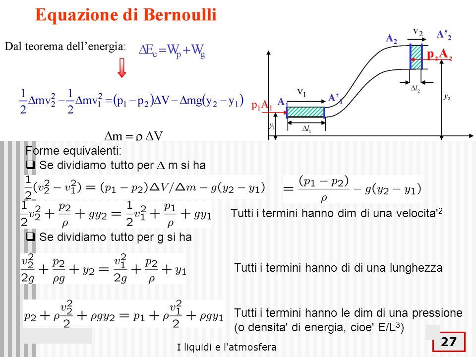 I liquidi e l'atmosfera 27 Forme equivalenti: Se dividiamo tutto per m si ha Se dividiamo tutto per g si ha Tutti i termini hanno dim di una velocita'