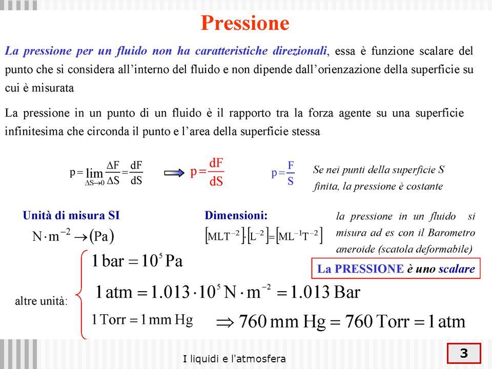 4 La pressione La pressione è la forza che si esercita su ogni singola unità di superficie.