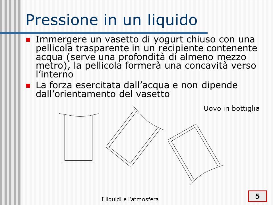 I liquidi e l'atmosfera 5 Pressione in un liquido Immergere un vasetto di yogurt chiuso con una pellicola trasparente in un recipiente contenente acqu