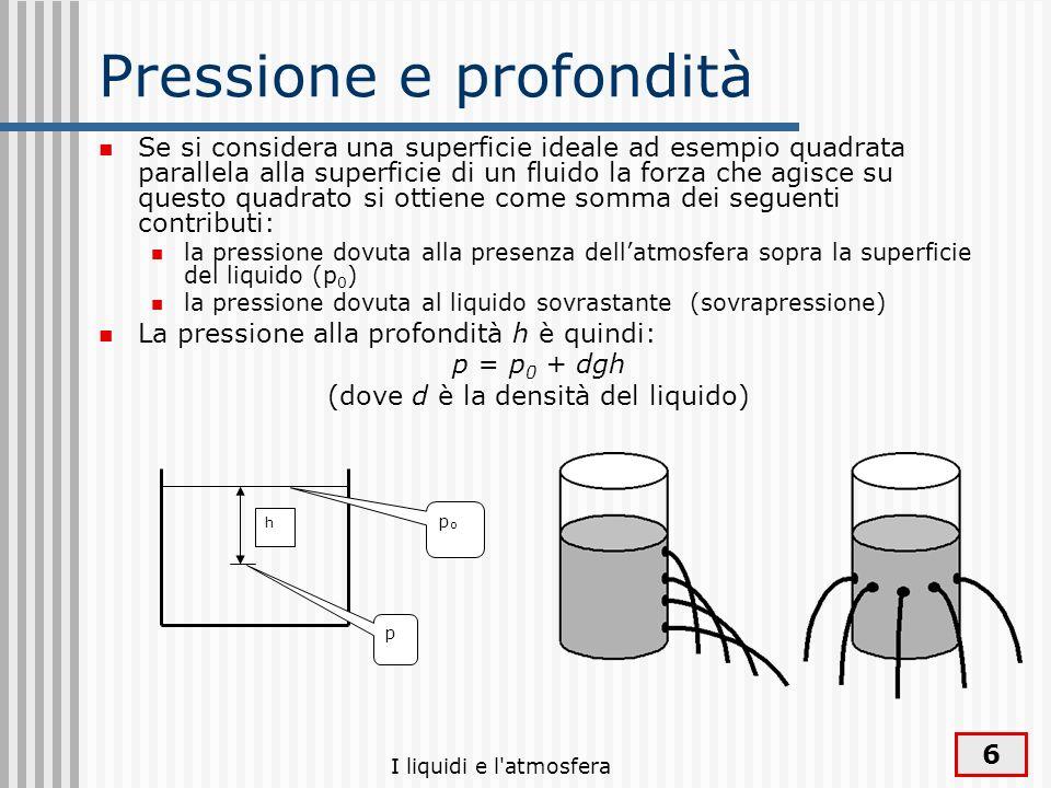 I liquidi e l'atmosfera 6 Pressione e profondità Se si considera una superficie ideale ad esempio quadrata parallela alla superficie di un fluido la f
