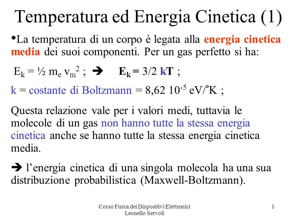 Corso Fisica dei Dispositivi Elettronici Leonello Servoli 1 Temperatura ed Energia Cinetica (1) La temperatura di un corpo è legata alla energia cinetica media dei suoi componenti.