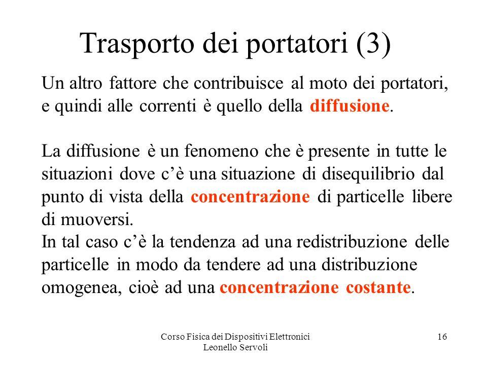 Corso Fisica dei Dispositivi Elettronici Leonello Servoli 16 Trasporto dei portatori (3) Un altro fattore che contribuisce al moto dei portatori, e qu