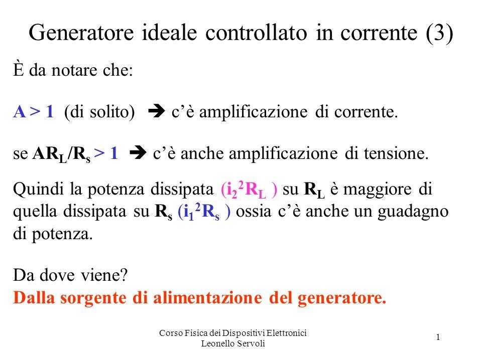 Corso Fisica dei Dispositivi Elettronici Leonello Servoli 1 Generatore ideale controllato in corrente (3) È da notare che: A > 1 (di solito) cè amplificazione di corrente.