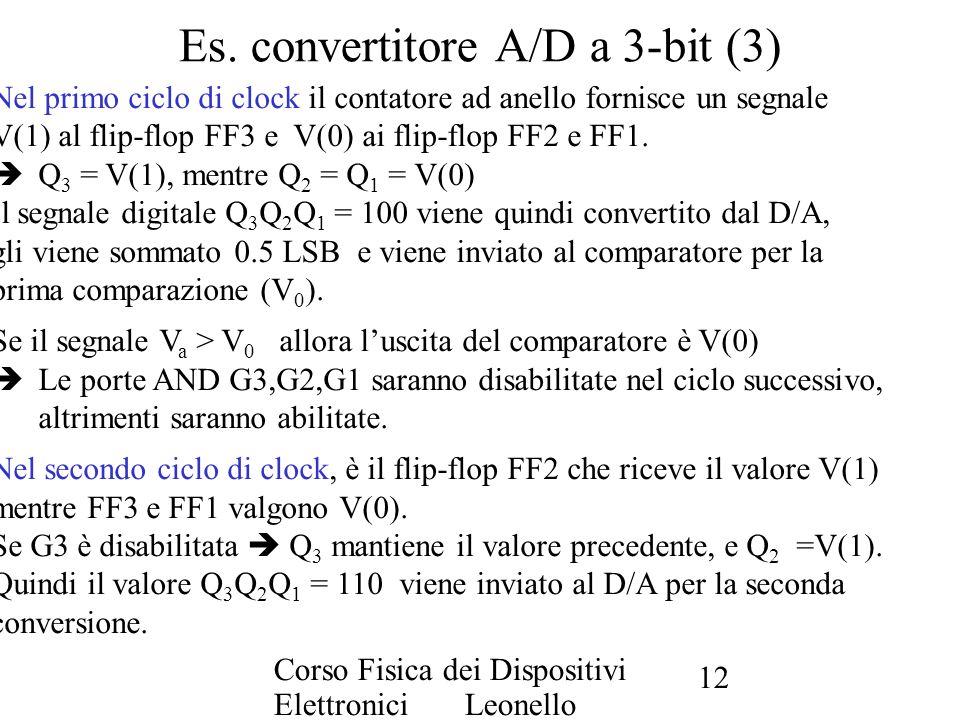 Corso Fisica dei Dispositivi Elettronici Leonello Servoli 12 Es. convertitore A/D a 3-bit (3) Nel primo ciclo di clock il contatore ad anello fornisce