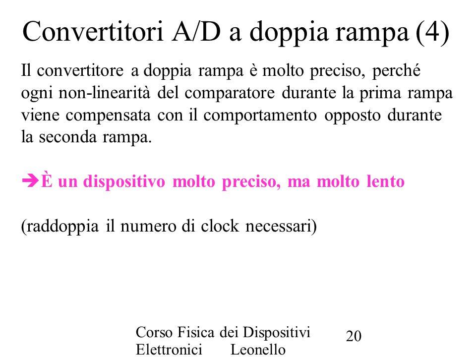 Corso Fisica dei Dispositivi Elettronici Leonello Servoli 20 Convertitori A/D a doppia rampa (4) Il convertitore a doppia rampa è molto preciso, perch