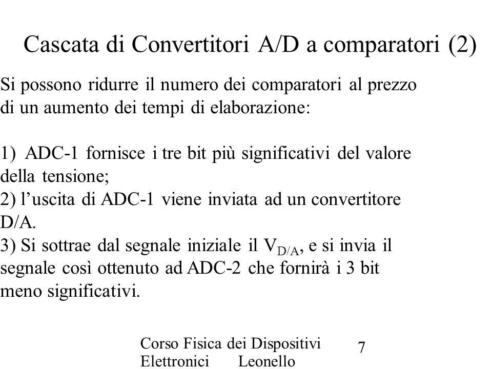 Corso Fisica dei Dispositivi Elettronici Leonello Servoli 7 Cascata di Convertitori A/D a comparatori (2) Si possono ridurre il numero dei comparatori