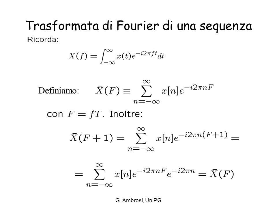 G. Ambrosi, UniPG Trasformata di Fourier di una sequenza (2)