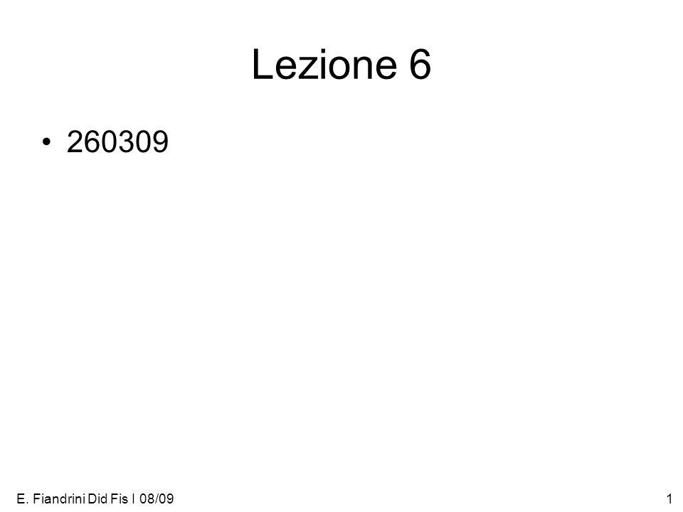 E. Fiandrini Did Fis I 08/091 Lezione 6 260309