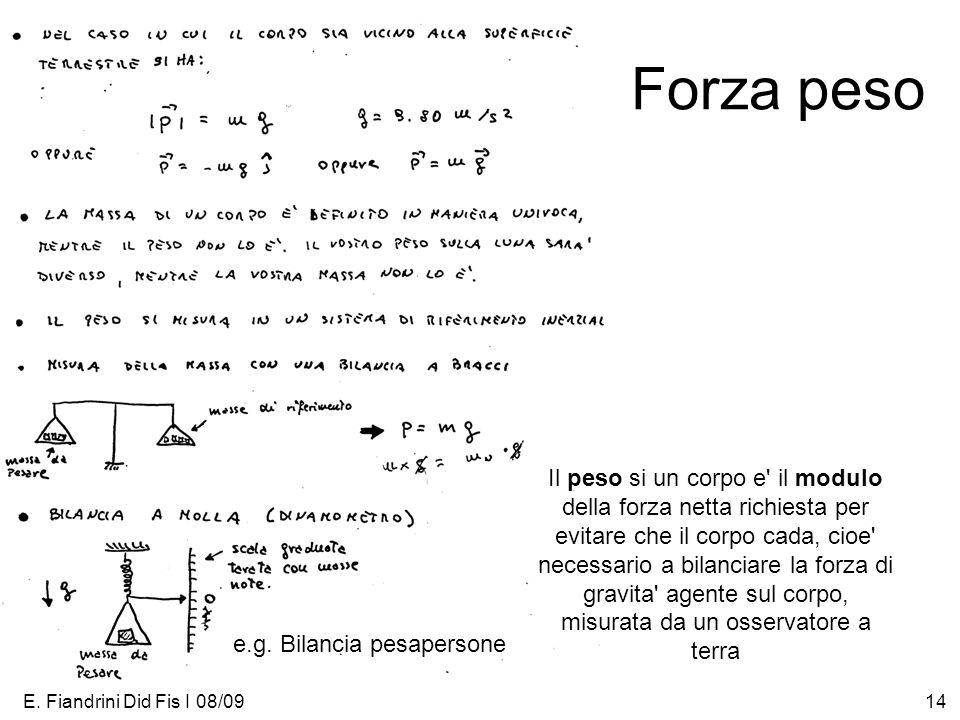 E. Fiandrini Did Fis I 08/0914 Forza peso Il peso si un corpo e' il modulo della forza netta richiesta per evitare che il corpo cada, cioe' necessario