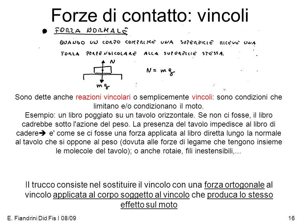 E. Fiandrini Did Fis I 08/0916 Forze di contatto: vincoli Sono dette anche reazioni vincolari o semplicemente vincoli: sono condizioni che limitano e/