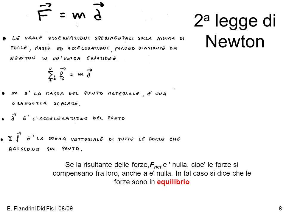 E. Fiandrini Did Fis I 08/098 2 a legge di Newton Se la risultante delle forze,F net e ' nulla, cioe' le forze si compensano fra loro, anche a e' null