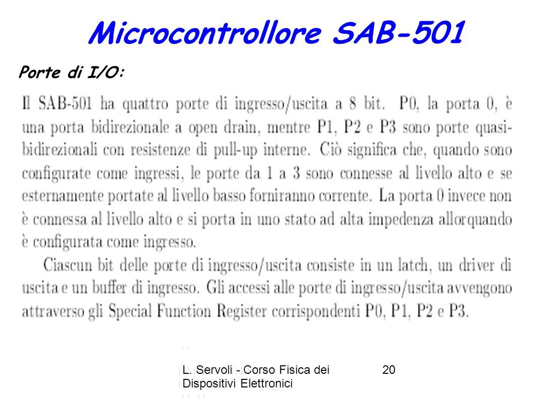 L. Servoli - Corso Fisica dei Dispositivi Elettronici 20 Microcontrollore SAB-501 Porte di I/O: 4 porte I/O a 8-bit 2+1 timer E+*,. ) 3* * 3, 3< 37 $