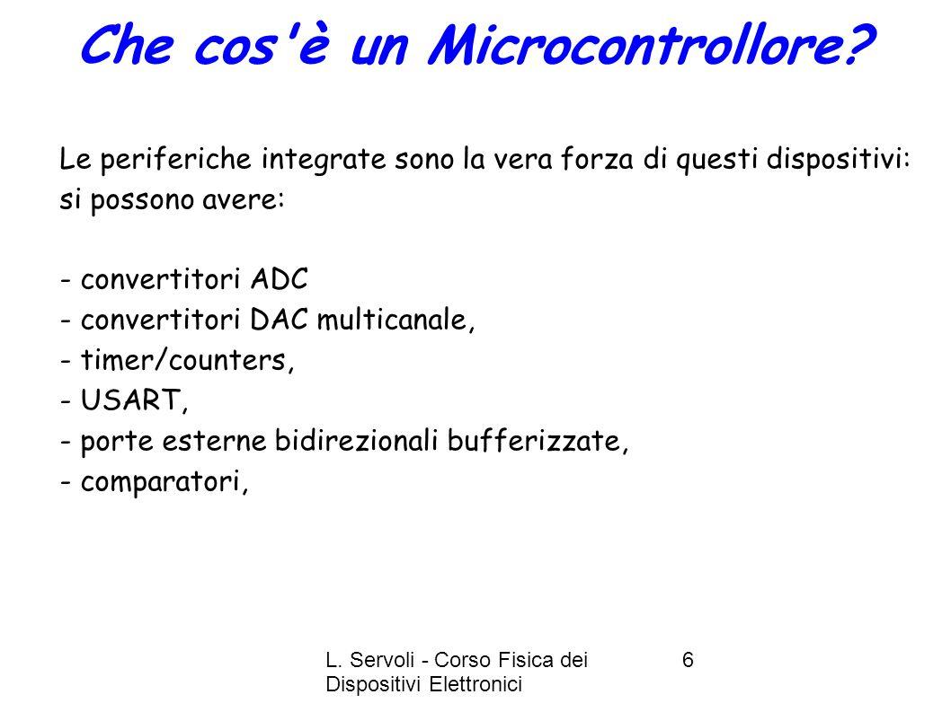 L. Servoli - Corso Fisica dei Dispositivi Elettronici 6 Le periferiche integrate sono la vera forza di questi dispositivi: si possono avere: - convert