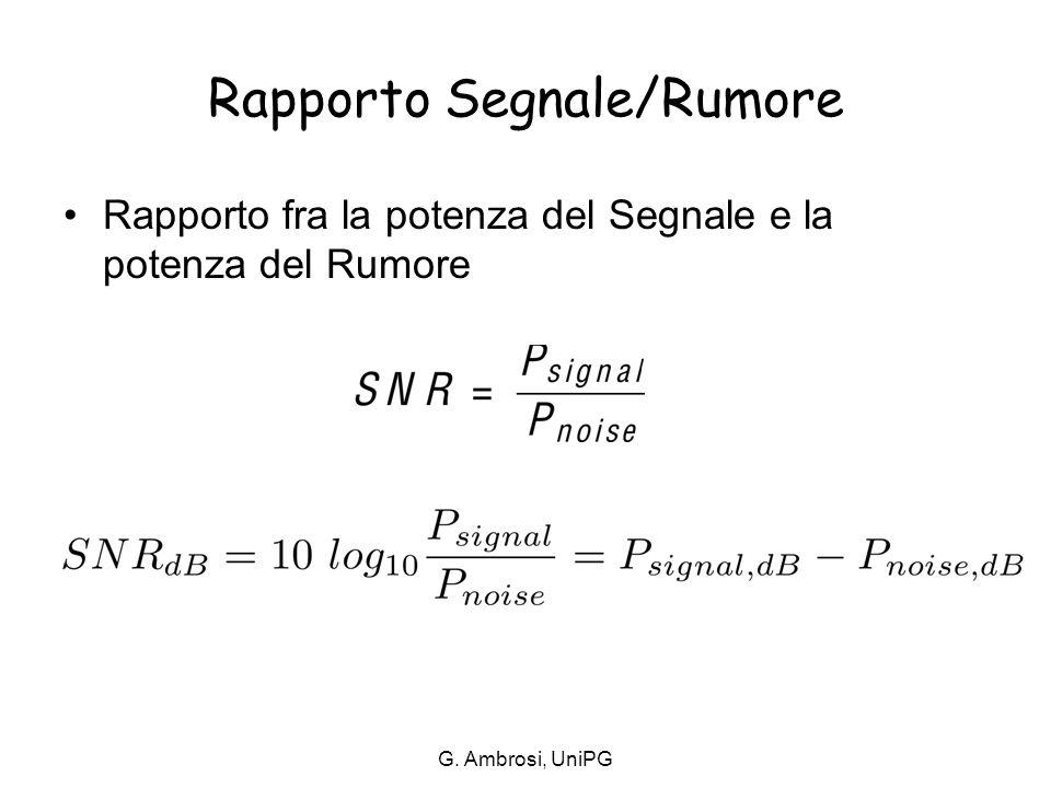 Rapporto Segnale/Rumore Rapporto fra la potenza del Segnale e la potenza del Rumore G. Ambrosi, UniPG