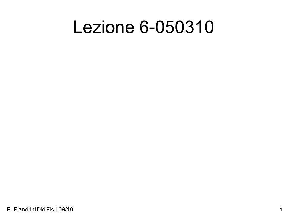 E. Fiandrini Did Fis I 09/101 Lezione 6-050310
