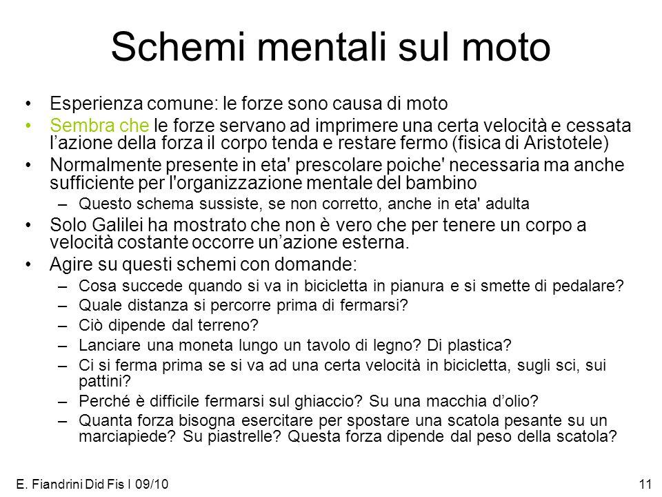E. Fiandrini Did Fis I 09/1011 Schemi mentali sul moto Esperienza comune: le forze sono causa di moto Sembra che le forze servano ad imprimere una cer