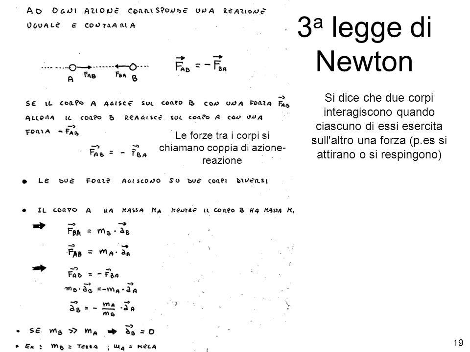 E. Fiandrini Did Fis I 09/1019 3 a legge di Newton Si dice che due corpi interagiscono quando ciascuno di essi esercita sull'altro una forza (p.es si