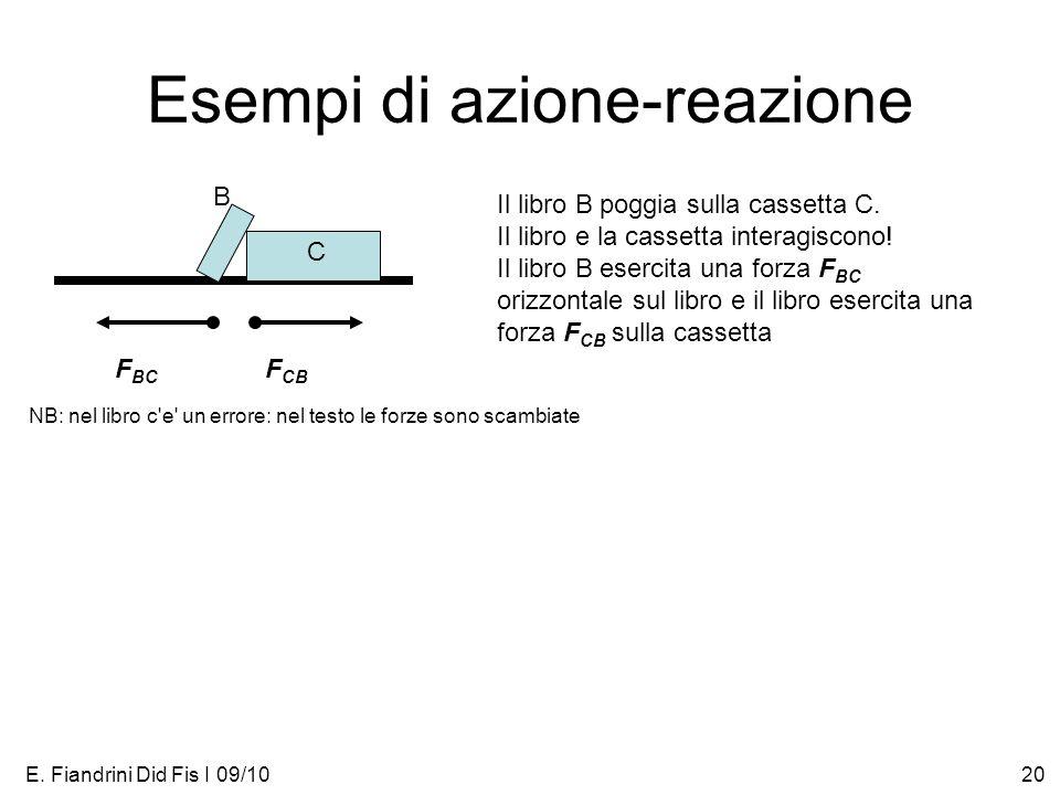 E. Fiandrini Did Fis I 09/1020 Esempi di azione-reazione Il libro B poggia sulla cassetta C. Il libro e la cassetta interagiscono! Il libro B esercita